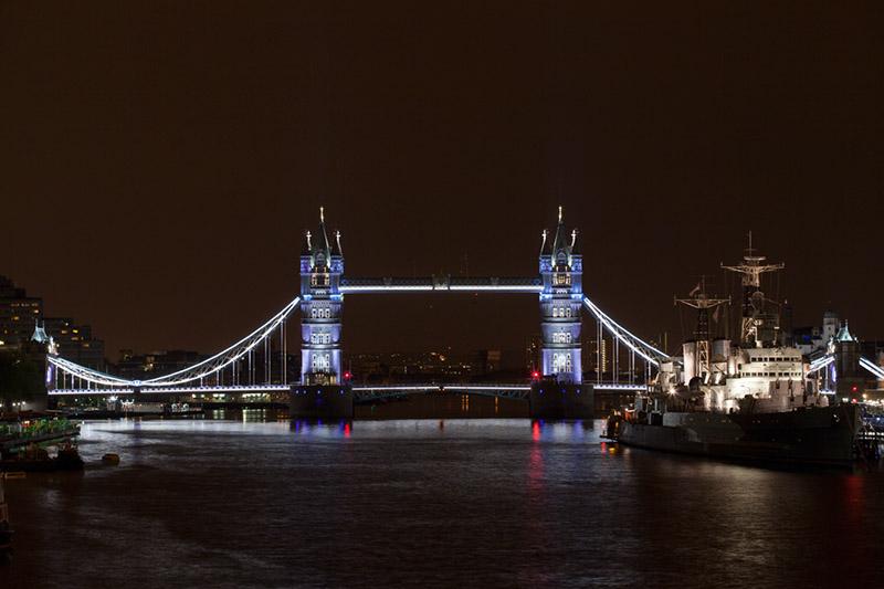 View from London Bridge, white lighting