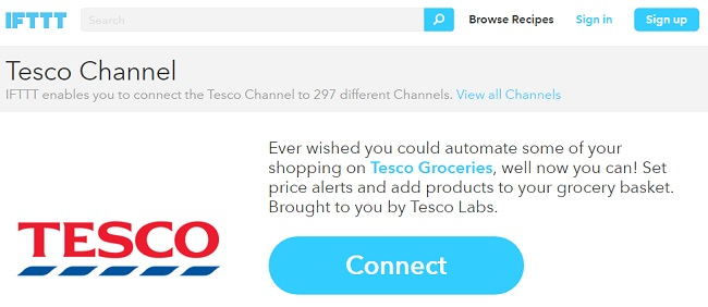 tesco-ifttt-channels